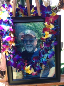 Here's one of the pictures his daughter April made for the funeral. The lei was appropriate given his love for Hawaii.